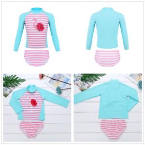 Girls-Two-Pieces-Tankini-Swimsuit-Flamingo-Printed-Swimwear-Rash-Guard-Costume