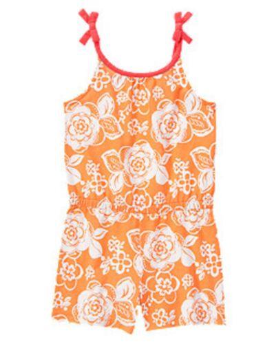 NWT Gymboree Girls Desert Dreams Orange Floral Print Romper Size 4 5 6 7 8 /& 10