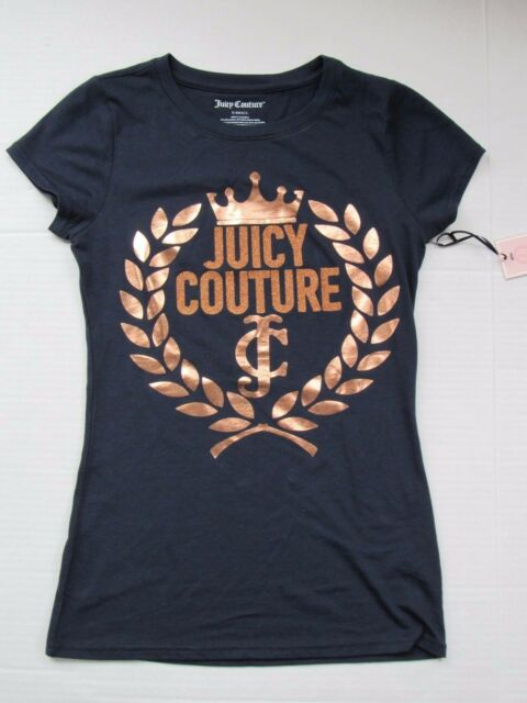NWT Women Juicy Couture Leaf Crown Crest Tee color Regal Blue Tshirts