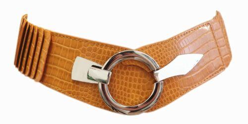 Damen Gürtel Leder Taillen Hüftgürtel Stretch Schlangen Leder Optik Gelb SA-73