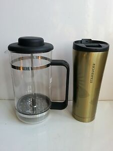 Starbucks Press Coffee Maker : Bodum 8 cup Press Coffee/Tea Maker & 12oz Stainless Steel Starbucks Tumbler eBay