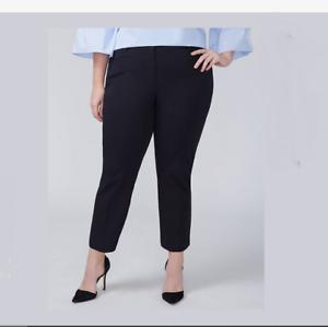 LANE BRYANT ALLIE Black Smart Stretch Slim Crop Pants 22 22W 2X 3X