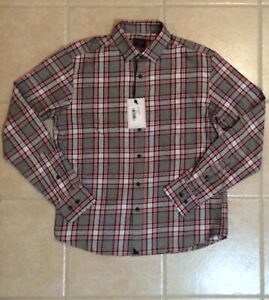 UNTUCKit-Rousseau-Men-039-s-Long-Sleeve-Button-Front-Pink-Gray-Plaid-Shirt-New-Small