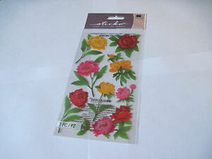 Scrapbooking-Stickers-Sticko-Flowers-Peonies-Red-Orange-Pink-Green-Leaves-Stems