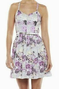 Womens-0-Dress-NEW-NWT-Floral-with-Belt-CANDIES-Lily-Purple-Sundress-Juniors-XS