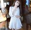 Womens Korean Fashion 3//4 Sleeve A Line Dress Cocktail Party Button Mini Dresses