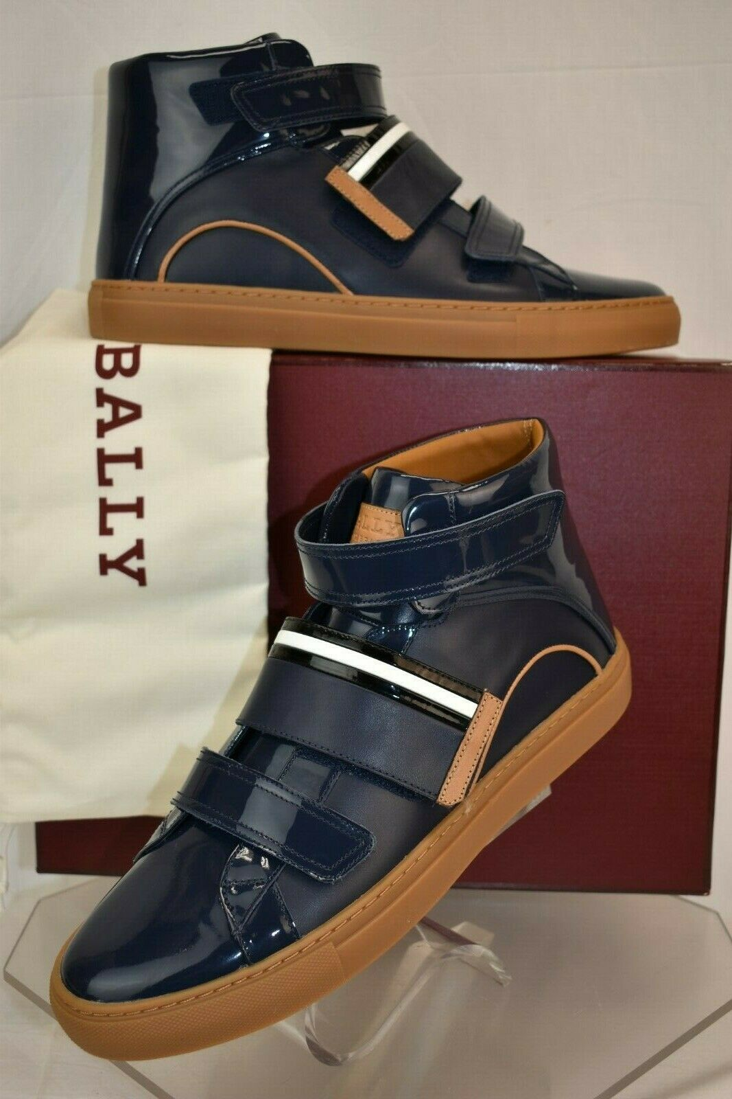 BALLY HERICK INK blu PATENT LEATHER HI TOP STRIPE LOGO scarpe da ginnastica 10 US 43