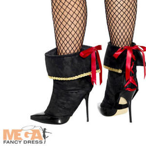 1f82fcb8 Details about Pirate Shoe Boot Covers Ladies Fancy Dress Caribbean  Buccaneer Costume Accessory