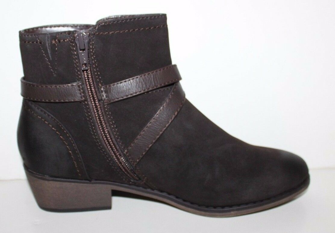 GH Bass NIB Women 7 7.5 Wilma Wilma Wilma Brown Faux Suede Ankle Boots w X Strap Trim a6bbc8