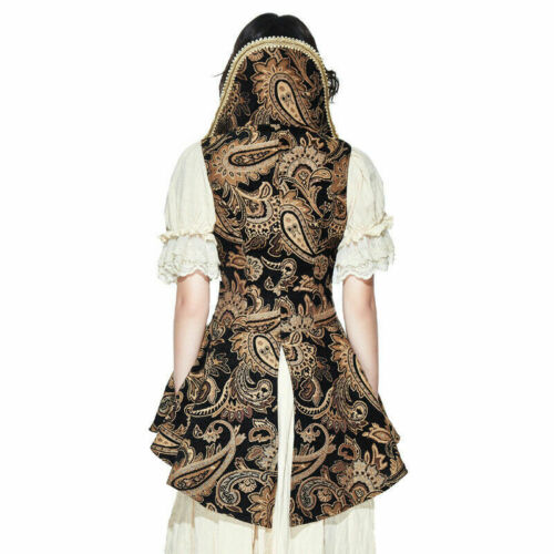 Vest Gothic Stand Collar Ladies Bodice Jacket Sleeveless Long Steampunk Sexy Sw4wHqgY