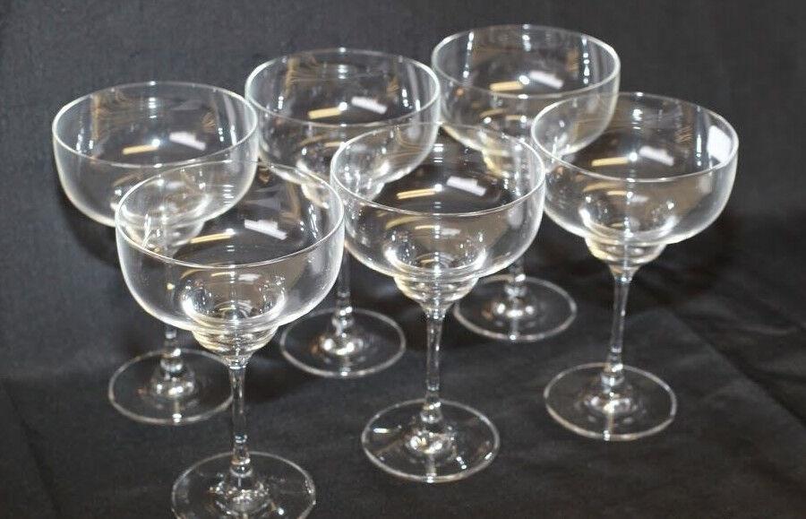 6 verres à Margarita ou Coupes à glace sur pied en verre A