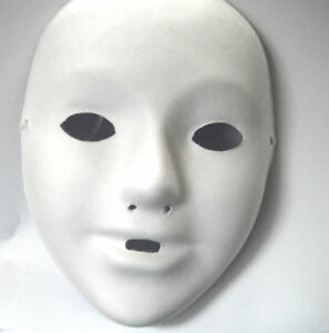 4 x small childrens kids plain white mask paint craft masquerade