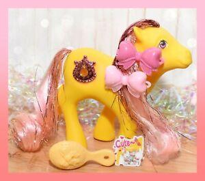 ❤️My Little Pony MLP G1 Vtg Princess MOONDUST Tinsel JEWEL Yellow Pink Earth❤️