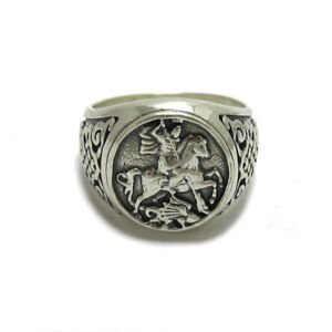Genuine-sterling-silver-men-ring-hallmarked-solid-925-St-George-R001779