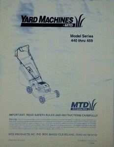 Details about MTD Yard Machines Walk Behind Lawn Mower (440 thru 459) Owner  & Parts Manual