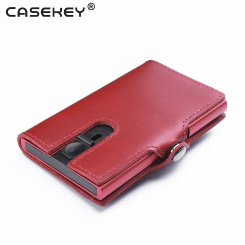 Unisex Middle Button leatherest Private patent credit card holder RFID oil wax