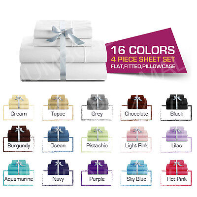 Single/KS/Double/Queen/King 4 Piece Bed Soft Sheet Set,Flat,Fitted,Pillowcases