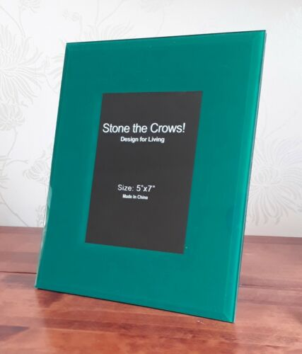"""Table Contemporary Modern Chic 5x7/"""" Glass New Photo Frame Blue Green Teal Wall"""