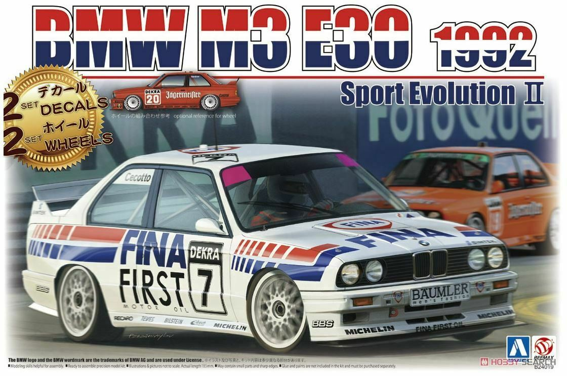 Aoshima BMW M3 E30 Sport Evolution '92 German Ver. 1 24 scale kit f   s   w jap