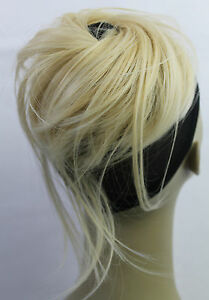 """New Synthetic Hairpiece Bun Scrunchies Straight Elastic Hairdo Up do ponytail 6"""""""