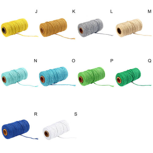 2mm Woven Crafts Cotton Rope Colored String Braided Colored Threads Macrame Cord
