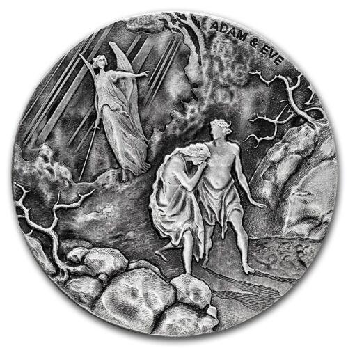 2016 Biblical Series Adam and Eve 2 oz Silver Antiqued Finish Coin W//OMP /& COA