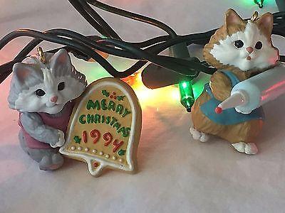 Kitten Christmas Ornaments Set 2 Sweet Greeting Hallmark Keepsake Hang Togethers