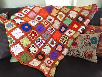 Vintage Granny Square Afghan Crochet Blanket Multi Color HandMade unique 46 x 67