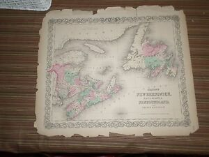 Hand-Colored-Map-of-New-Brunswick-1856-G-W-and-C-B-Colton-amp-Co-New-York