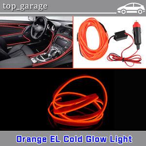 Flexible Neon Light 2M Glow EL Wire Orange LED Strip Tube Car ...