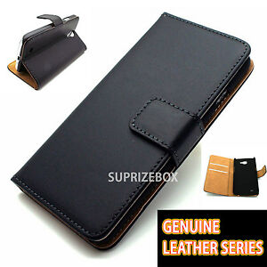quality design 62016 92001 Details about Premium Black Genuine Leather Wallet Flip Case Cover for Sony  Xperia E1