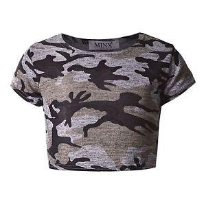 e6d172a5c842f Filles Camouflage Haut Court Enfants Manche T-Shirt T-Shirts Neuf 7 ...