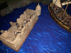 28mm-Terrain-Caribbean-Fort-Jungle-Temple-Stone-Walled-Harbour-3D-Printed