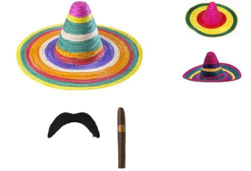 UNISEX FANCY DRESS MULTI COLOURED MEXICAN SOMBRERO HAT ADD MOUSTACHE CIGAR