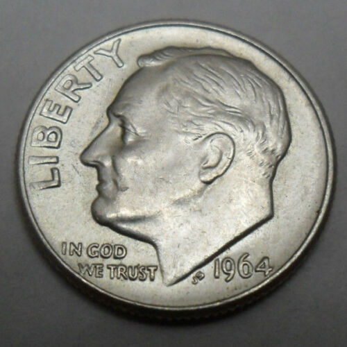 1964 P ROOSEVELT DIME *90/% SILVER*  *AU ABOUT UNCIRCULATED*  **FREE SHIPPING**