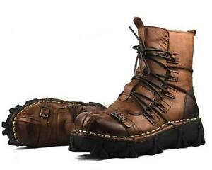 #2 Color Stylist Men Lace Up Leather Combat Military Ankle Boots Mens Shoes Size