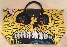 LONGCHAMP X JEREMY SCOTT Le Pliage Madballs Yellow Monster Bag SKULL FACE LMT