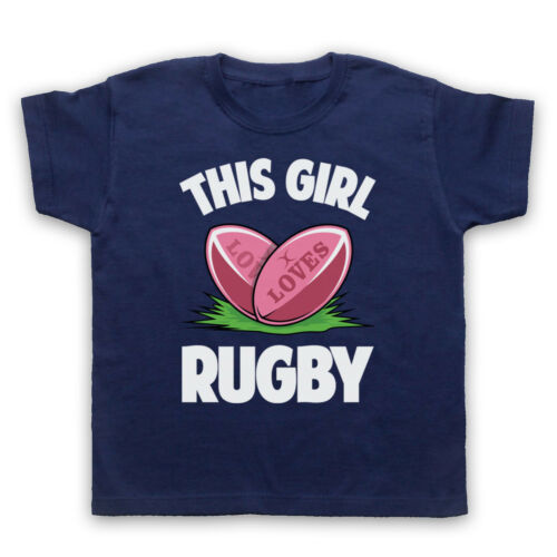 THIS GIRL LOVES RUGBY SLOGAN SPORTS LOVER COOL RETRO MENS WOMENS KIDS T-SHIRT