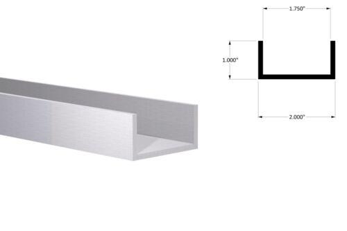 """Aluminum Channel: 2/"""" W x 1/"""" H x 1//8/"""" Wall Fits 1-3//4/"""" Mill Finish 8 Foot"""
