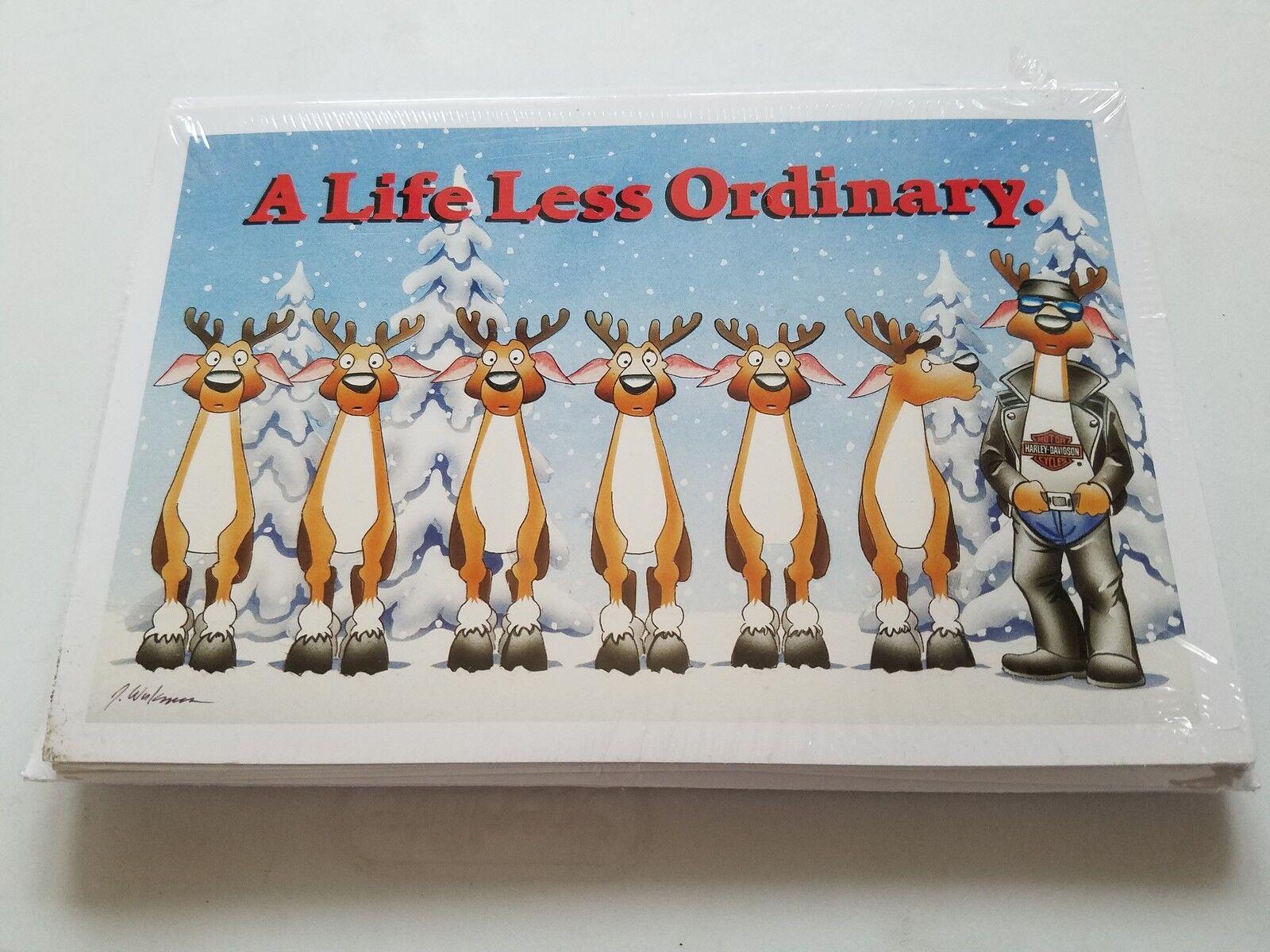 HARLEY DAVIDSON CHRISTMAS CARDS  X505 BIKER REINDEER LIFE LESS ORDINARY (100PK)