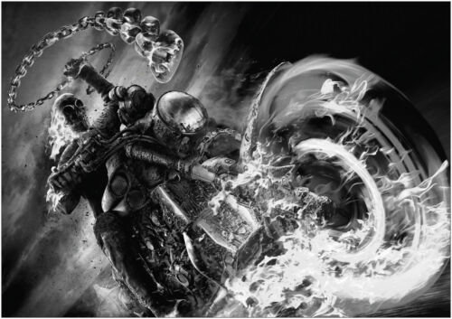 Ghost Rider Skeleton Bike Giant Poster Art Print Black /& White in Card or Canvas