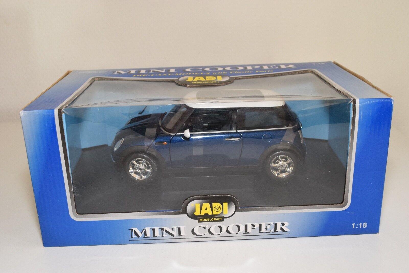 T 1:18 JADI NEW MINI COOPER METALLIC BLUE WITH WHITE ROOF MINT BOXED