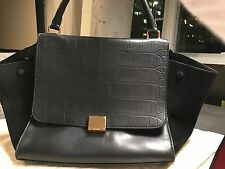 Celine trapeze medium black with croc embossed flap