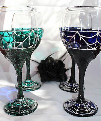Blue Moon Bat Wine Goblet Glass Goth Metal Halloween Gift Angel Vampire Pagan