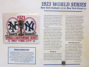 464b3c83b01 1923 WORLD SERIES PATCH CARD Willabee   Ward NEW YORK YANKEES vs NEW ...