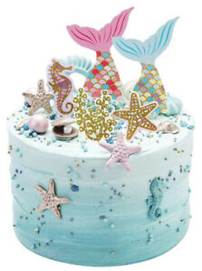 Prime Mermaid Tails Starfish Coral Edible Stand Up Cake Topper Image Personalised Birthday Cards Akebfashionlily Jamesorg