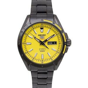 Seiko-5-Sports-100M-Men-039-s-Yellow-Dial-Black-PVD-Stainless-Strap-Watch-SRP159K1