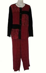Artsy Rayon Pants Set PETITE Size 10P 10 Paisley Carole Little Shirt Wine Black