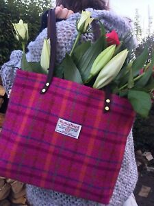 7627575193 Pink Harris tweed handbag tartan bag womens gift for her Scottish ...