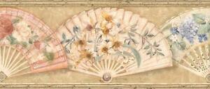 Wallpaper-Border-Floral-Fans-Hydrangeas-Roses-Daffodils-Yellow-Blue-Peach-on-Tan